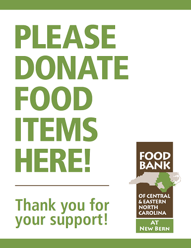New Bern Food Drive Sign