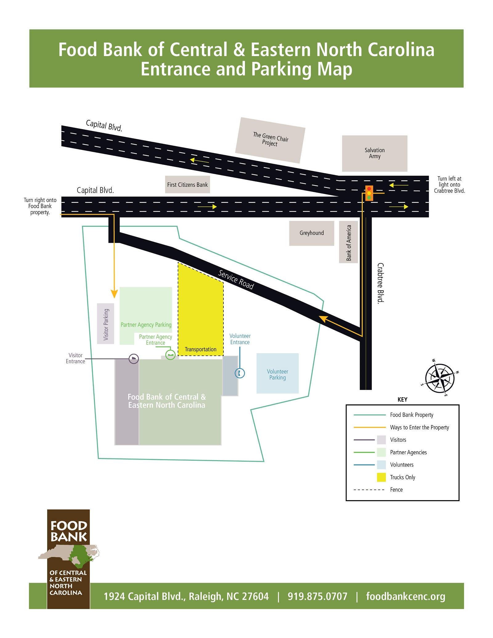 Raleigh Branch Entrance and Parking Map